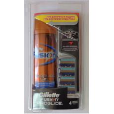 Набор Gillette Fusion Proglide 4 картриджа + гель