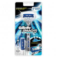 Станок Gillette Mach3 Turbo без подставки(+2 картриджа)