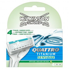 Лезвия Schick(Wilkinson Sword) Quattro Titanium Sensitive упаковка 4 штуки