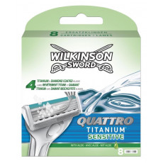 Лезвия Schick(Wilkinson Sword) Quattro Titanium Sensitive упаковка 8 штук